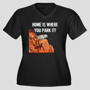 Home Is Wher Women's Plus Size V-Neck Dark T-Shirt