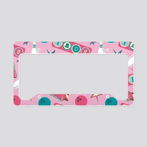 Retro Bowling Print Pink and Turquoise License Pla