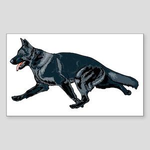 German shepherd black Sticker (Rectangle)
