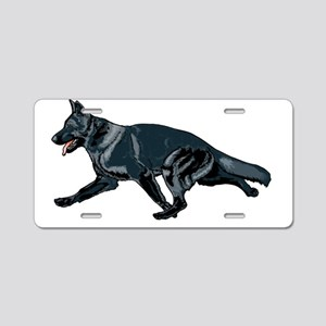 German shepherd black Aluminum License Plate