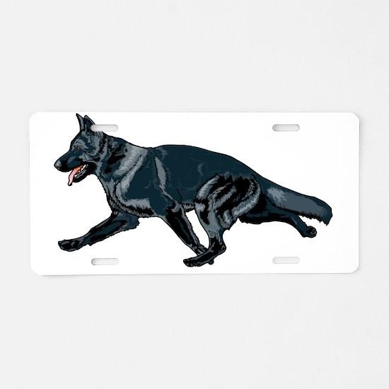 German shepherd black Aluminum License Plate