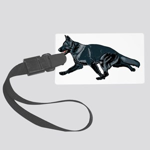 German shepherd black Large Luggage Tag
