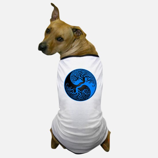 Blue and Black Yin Yang Tree Dog T-Shirt