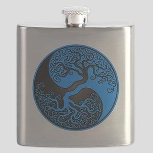 Blue and Black Yin Yang Tree Flask