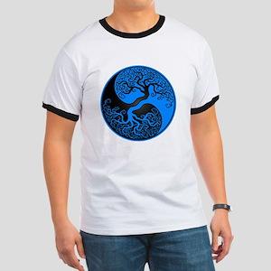 Blue and Black Yin Yang Tree T-Shirt