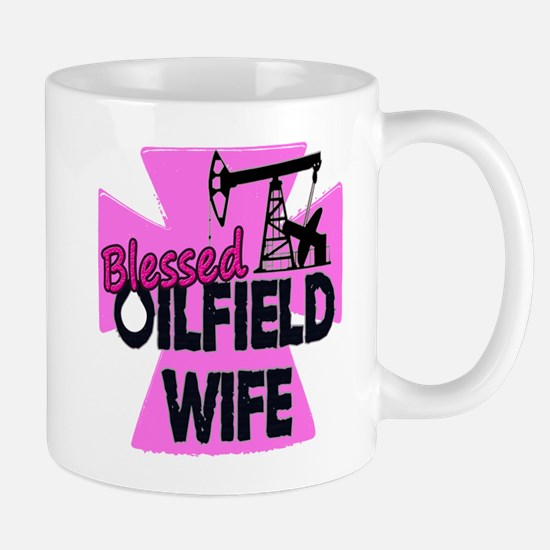 Pink Blessed Oilfield Wife With Cross Mugs