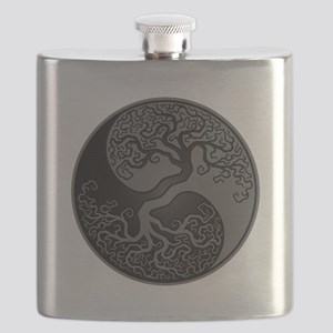 Grey and Black Yin Yang Tree Flask