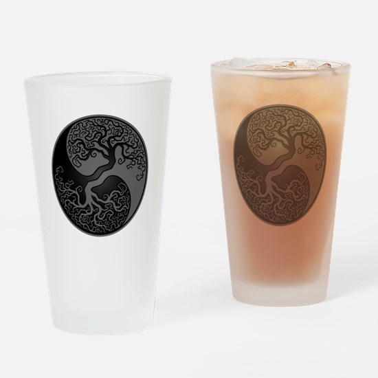 Grey and Black Yin Yang Tree Drinking Glass