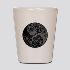 Grey and Black Yin Yang Tree Shot Glass