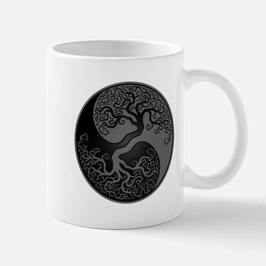 Grey and Black Yin Yang Tree Mugs