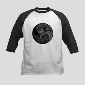 Grey and Black Yin Yang Tree Baseball Jersey