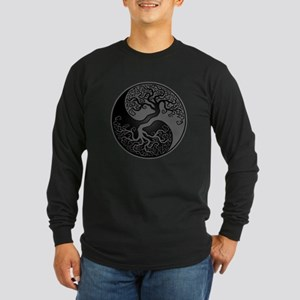 Grey and Black Yin Yang Tree Long Sleeve T-Shirt