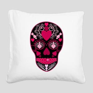 Valentine Sugar Skull Square Canvas Pillow