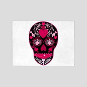 Valentine Sugar Skull 5'x7'Area Rug