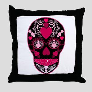 Valentine Sugar Skull Throw Pillow