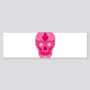 Pink Hearts Sugar Skull Sticker (Bumper)