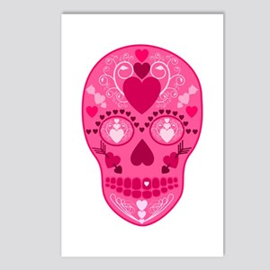 Pink Hearts Sugar Skull Postcards (Package of 8)