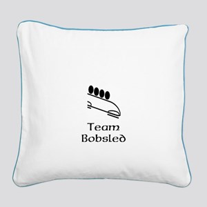 Team Bobsled Black Square Canvas Pillow