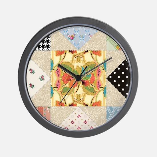 Vintage Star Quilt Pattern Wall Clock