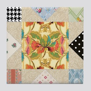 Vintage Star Quilt Pattern Tile Coaster