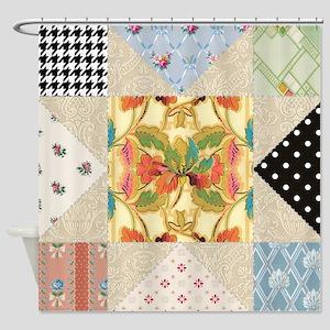 Vintage Star Quilt Pattern Shower Curtain