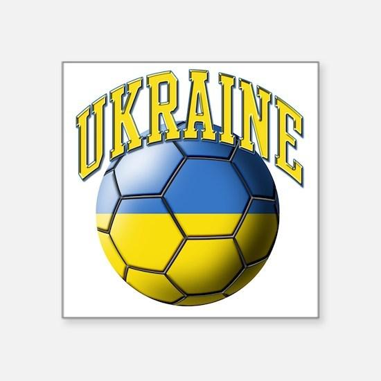 "Ukraine Flag Soccer Ball Square Sticker 3"" x 3"""