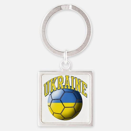 Ukraine Flag Soccer Ball Square Keychain