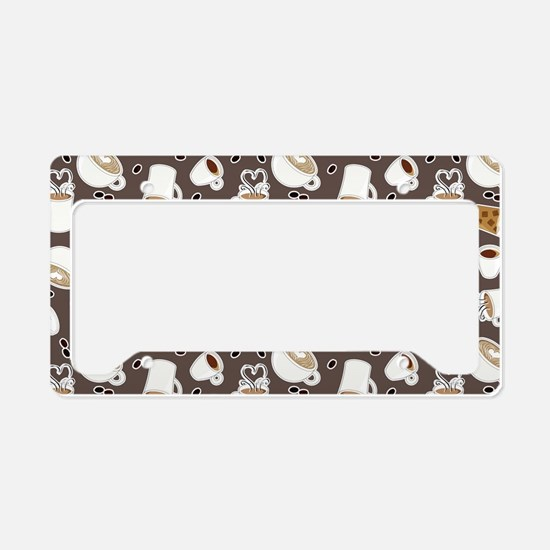For the Love of Coffee Pattern Gray License Plate