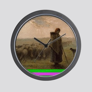 Shepherdess and Her Flock Wall Clock
