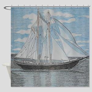 Hand Drawn Sailboat Shower Curtain Shower Curtain