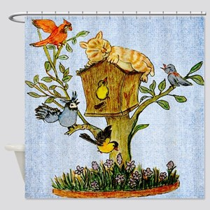 Birds and Cat Shower Curtain Shower Curtain