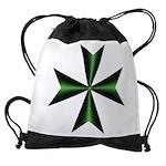 Green Maltese Cross Drawstring Bag