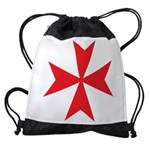 Red Maltese Cross Drawstring Bag