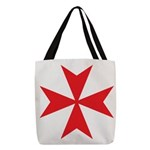 Red Maltese Cross Polyester Tote Bag
