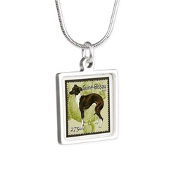 Italian Greyhound Stamp Silver Square Necklace