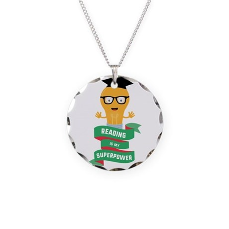 Reading is my Superpower Necklace Circle Charm