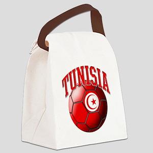 Flag of Tunisia Soccer Ball Canvas Lunch Bag