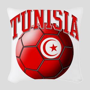 Flag of Tunisia Soccer Ball Woven Throw Pillow