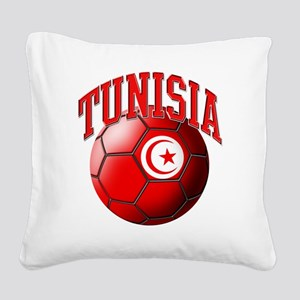 Flag of Tunisia Soccer Ball Square Canvas Pillow