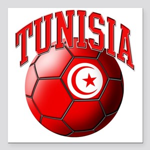 "Flag of Tunisia Soccer B Square Car Magnet 3"" x 3"""