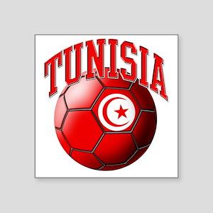 """Flag of Tunisia Soccer Ball Square Sticker 3"""" x 3"""""""