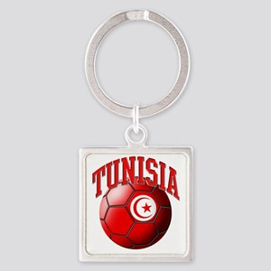 Flag of Tunisia Soccer Ball Square Keychain