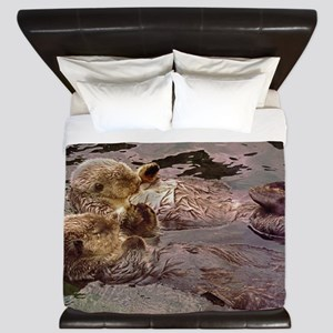 Sea Otters Holding Hands King Duvet