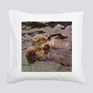 Sea Otters Holding Hands Square Canvas Pillow