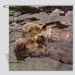 Sea Otters Holding Hands Shower Curtain