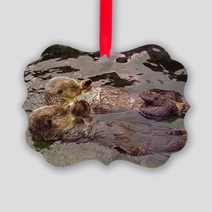 Sea Otters Holding Hands Picture Ornament