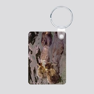 Sea Otters Holding Hands Aluminum Photo Keychain