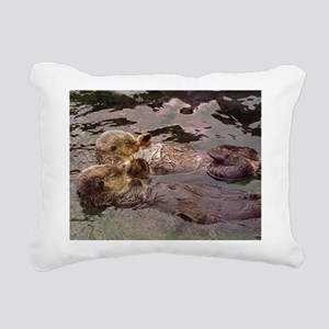 Sea Otters Holding Hands Rectangular Canvas Pillow