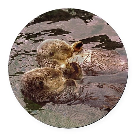 Sea Otters Holding Hands Round Car Magnet