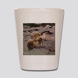 Sea Otters Holding Hands Shot Glass
